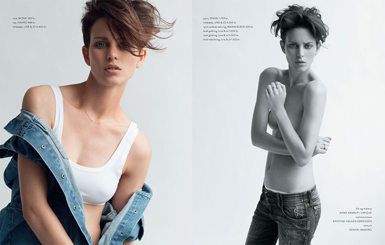 female model in jeans