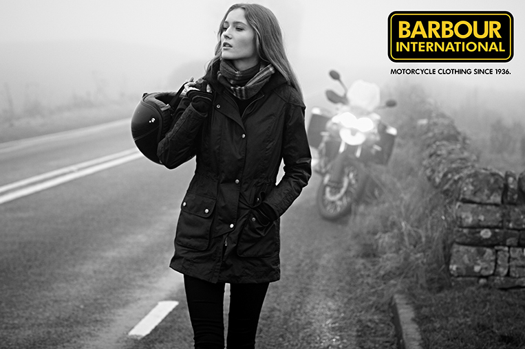 Barbour Black White Woman Motorcycle