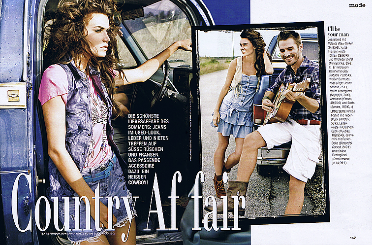 denim country fashion couple jeep car