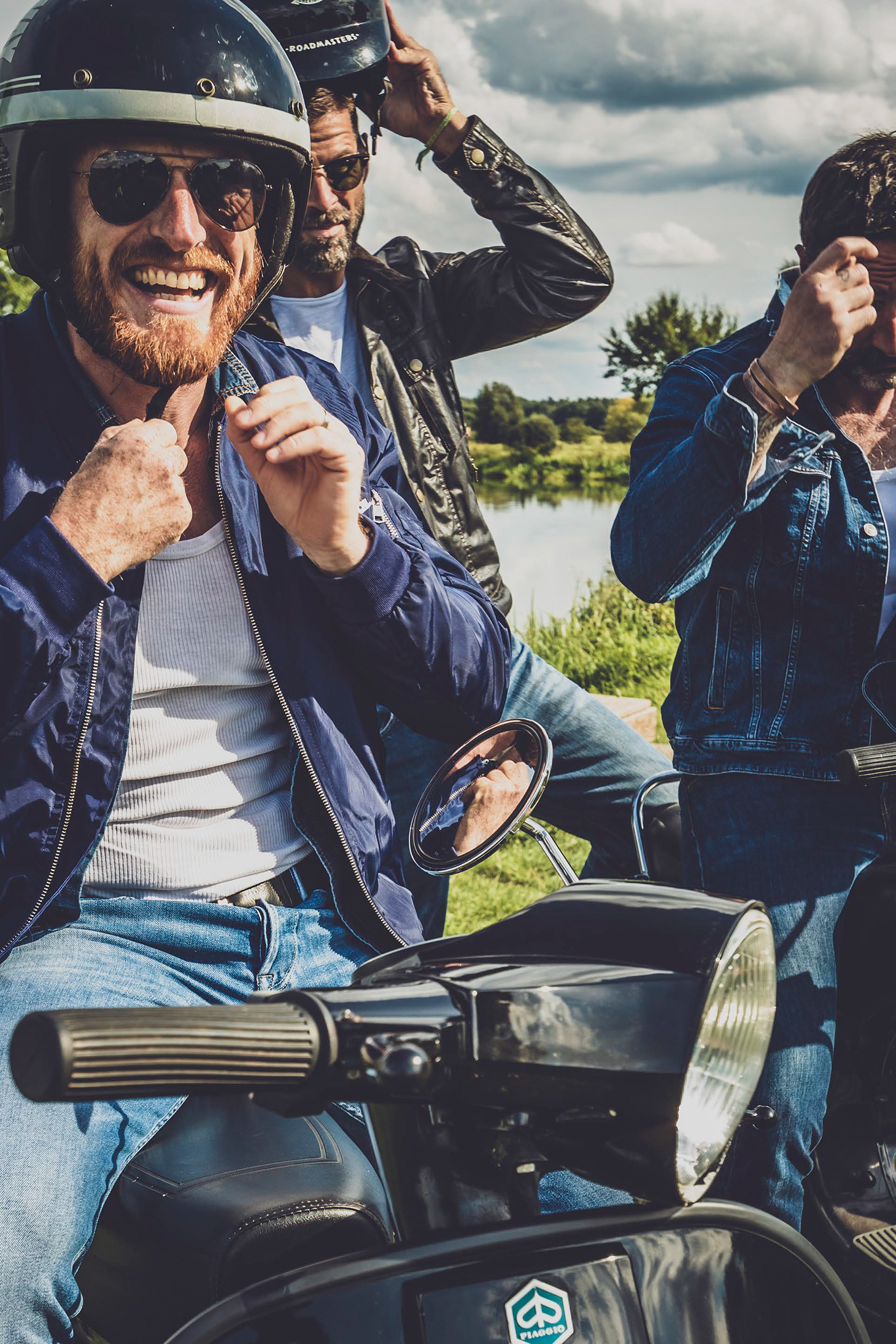 photography motorcycles men beard nature lake swimmng jeans summer