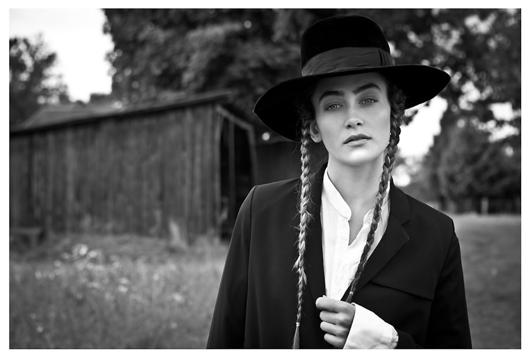 amish fashion girl braids country bw