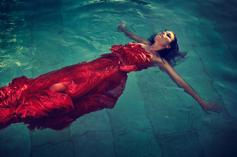swiming pool water fashion red dress girl