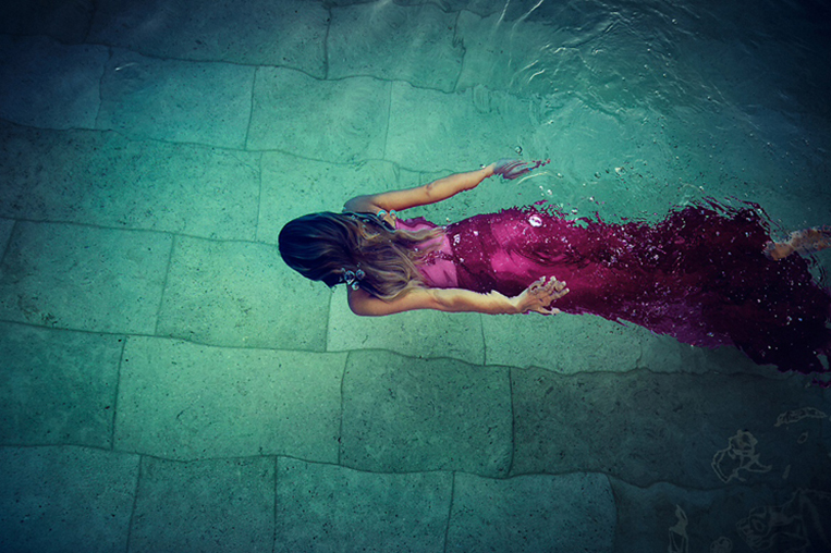 swiming pool water fashion pink dress girl