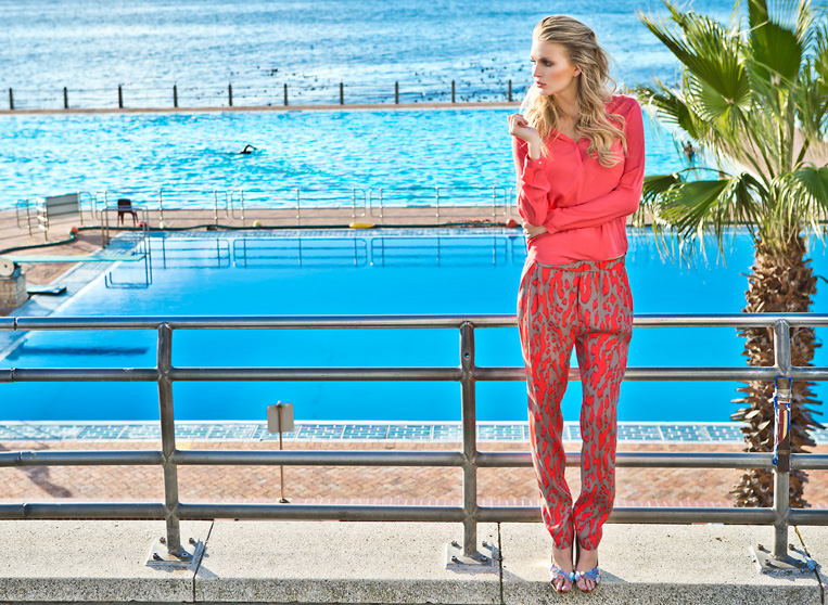 blond girl red fashion blue pool