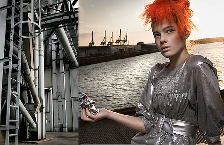 coloured red hair pieces hamburg harbour girl metal industrial