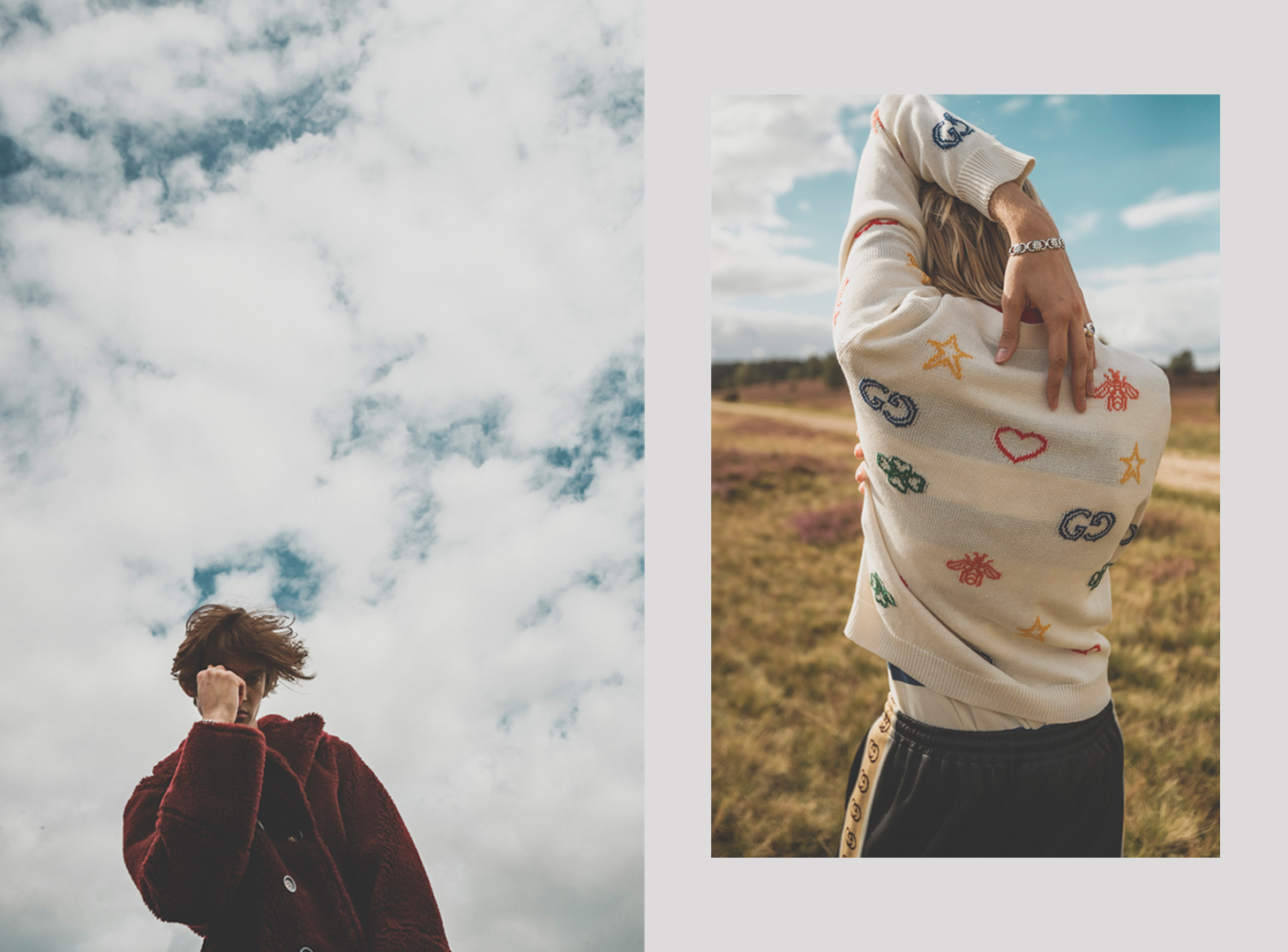 bodo rickassel photography men fashion blonde hair gucci sweater field nature blue sky