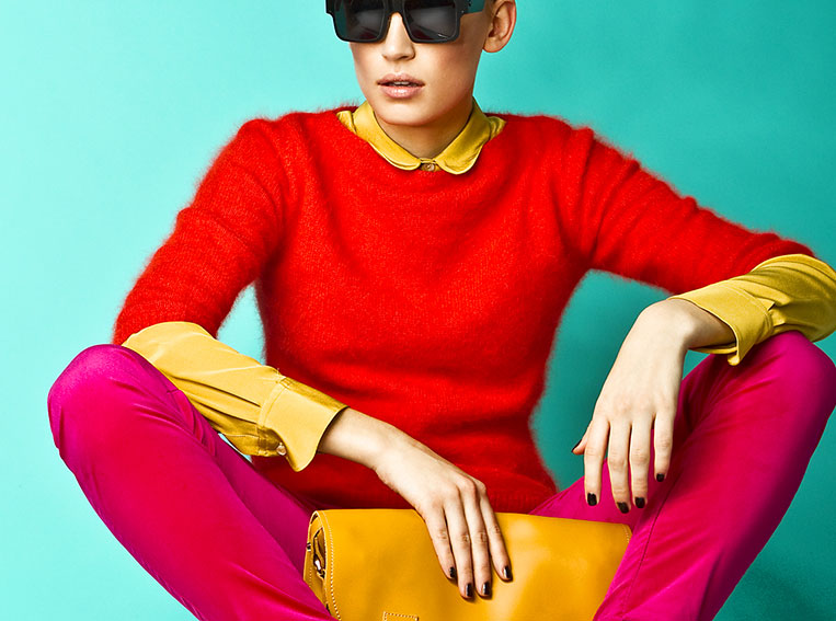 female model in bright clothes