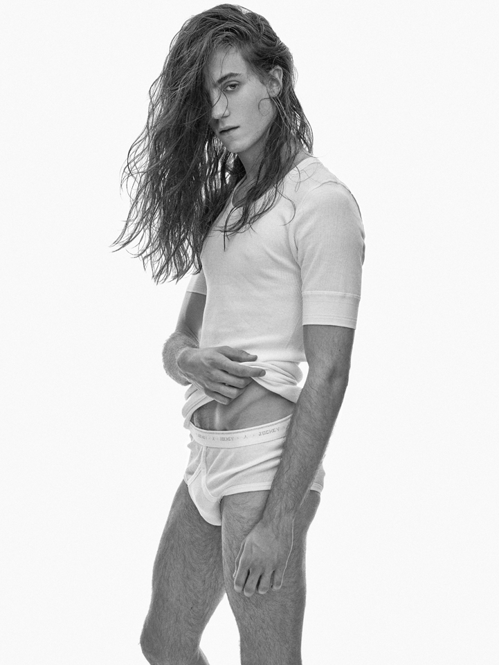 bw boy long hair white tshirt
