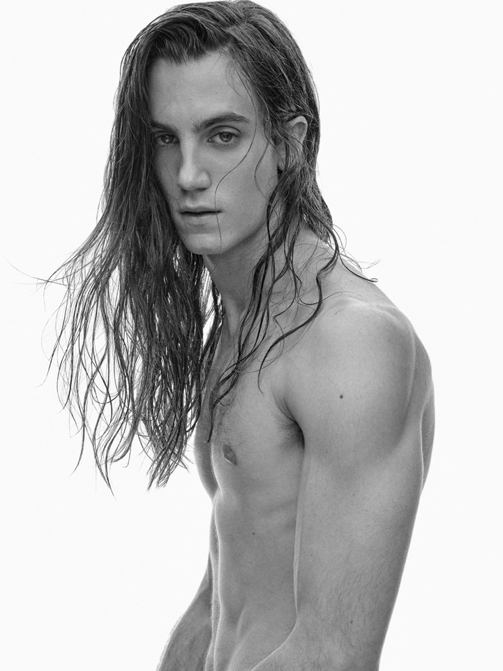 bw boy long hair no tshirt