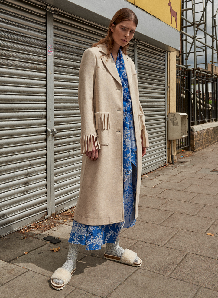 girl fashion ad trench