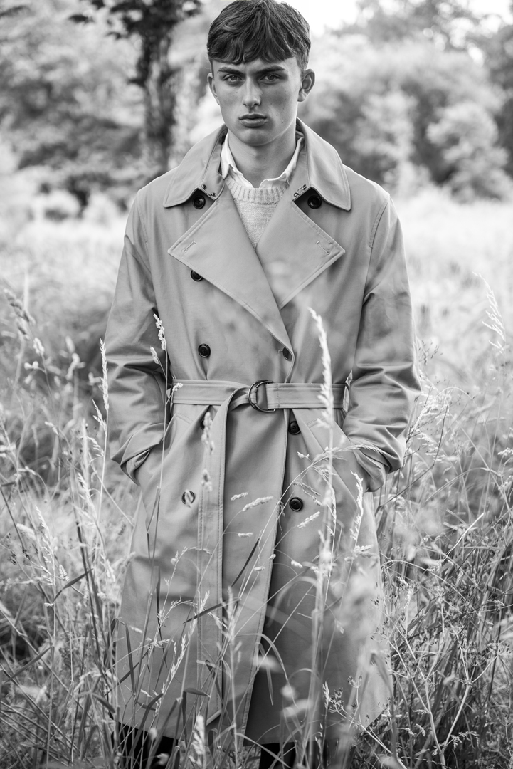 bw boy trench coat nature