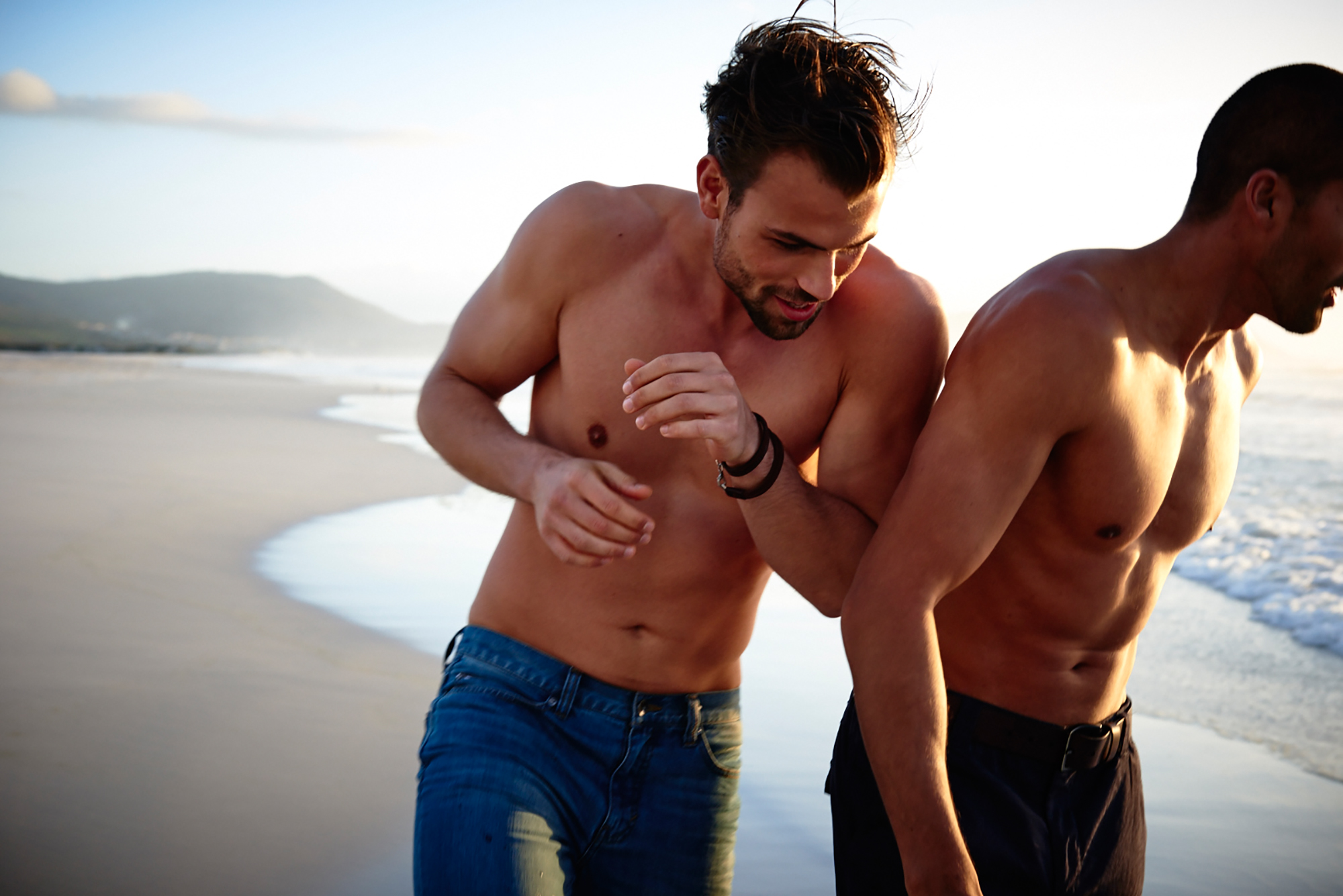 male models beach fun jeans
