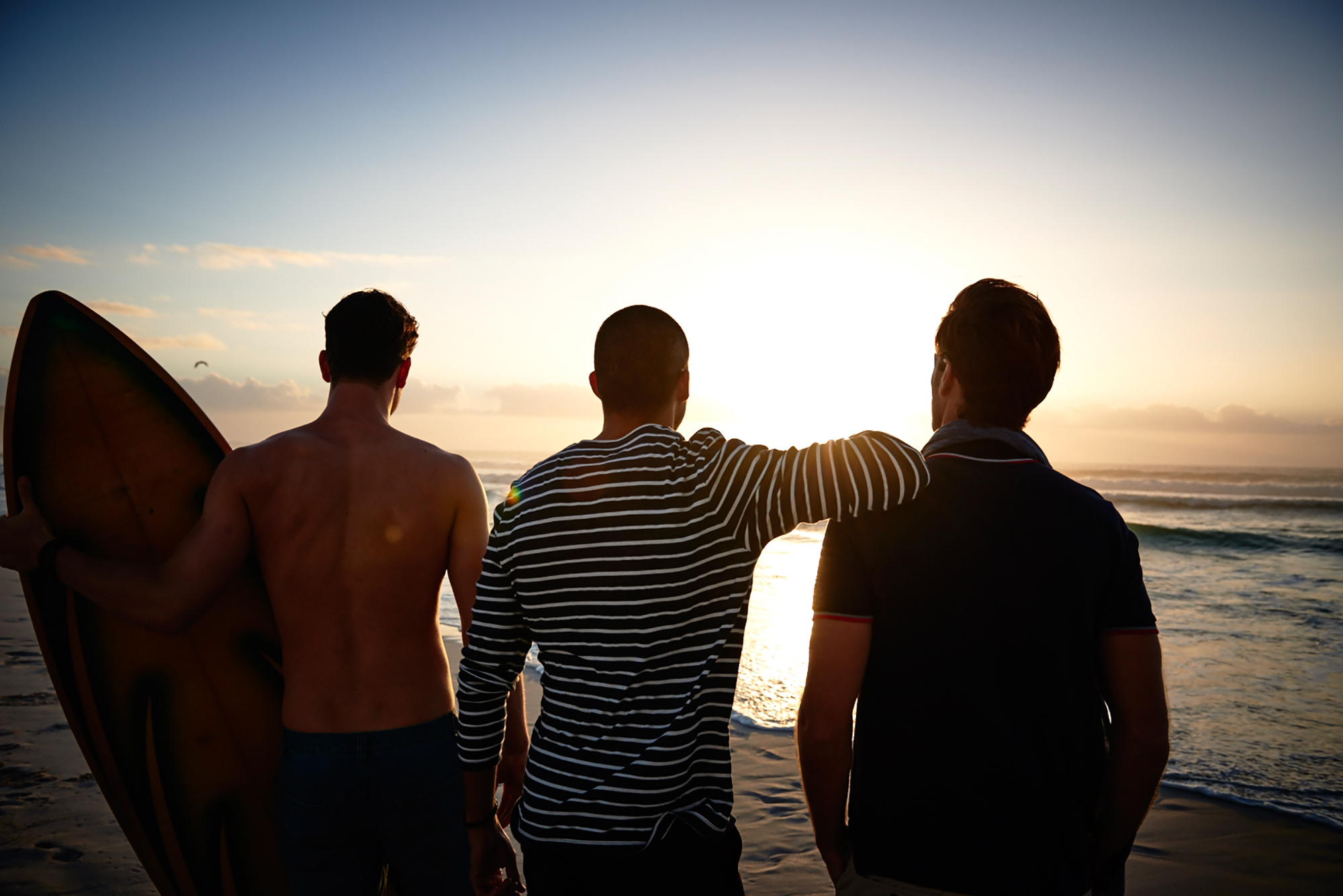 sunset male models beach see
