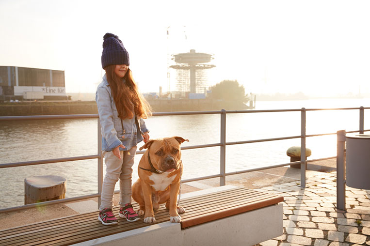 happy kid with dog outdoor