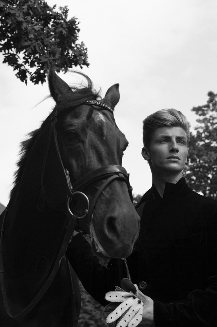 horse male model outdoor