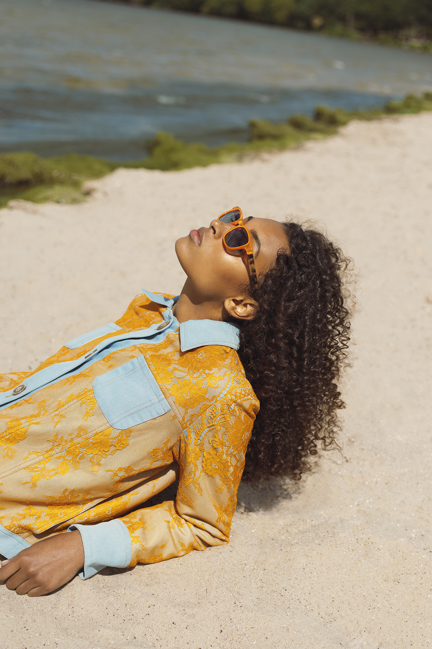 curly hair neon outfit beach sunny day curly long hair