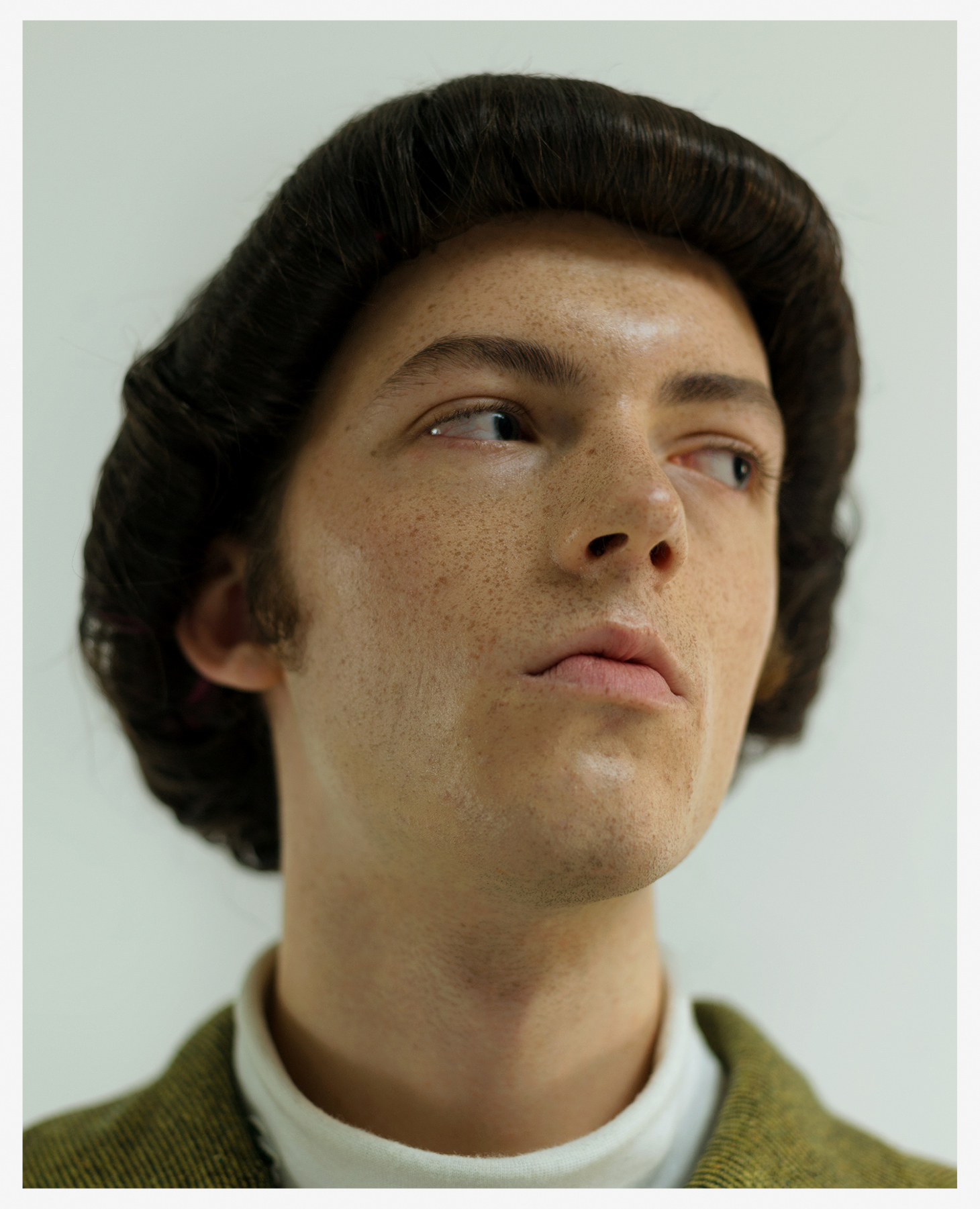 nina raasch editorial short hair 70s vibe male model
