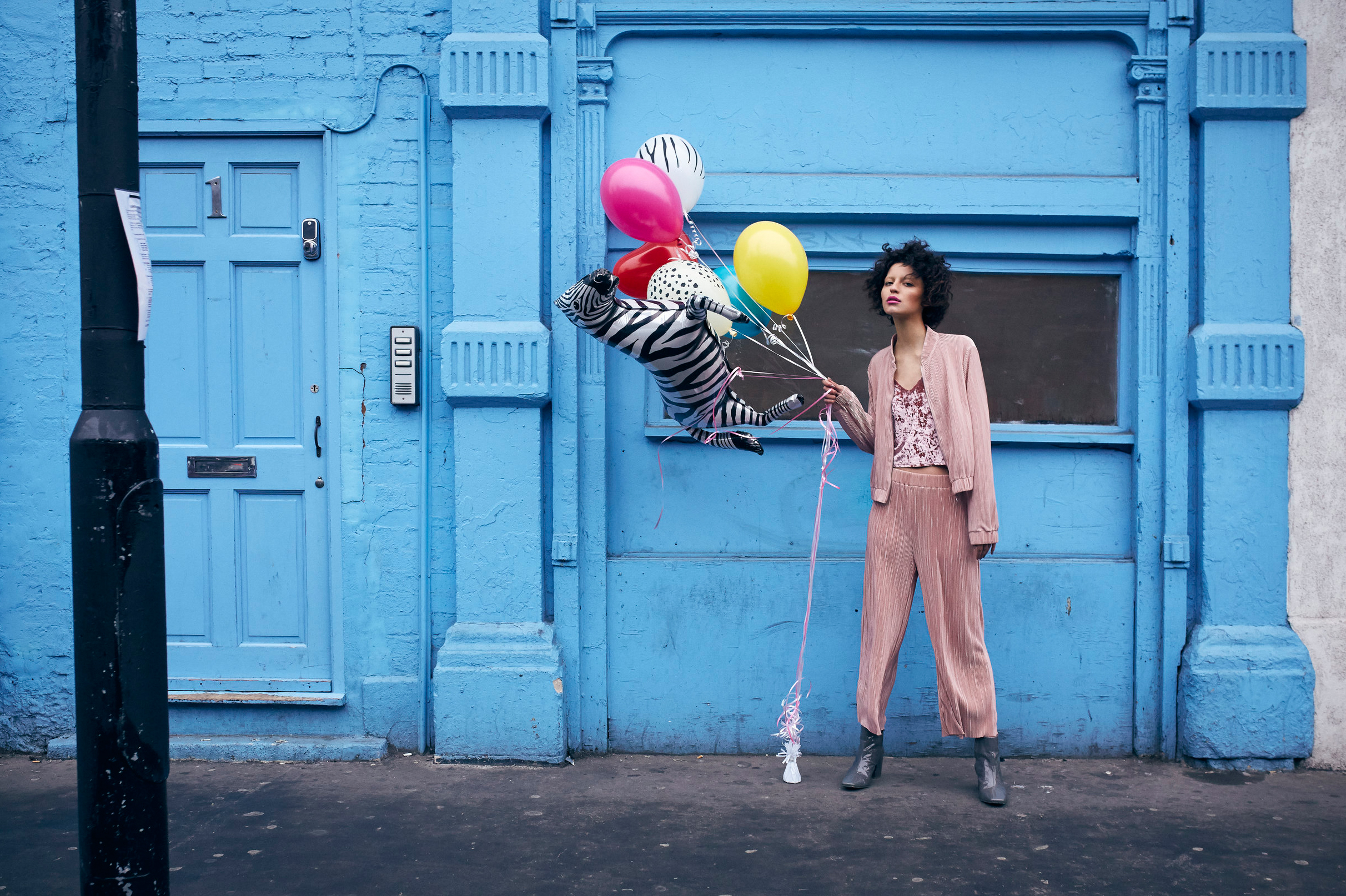 Blue Balloon Pink Outfit Curly Hair