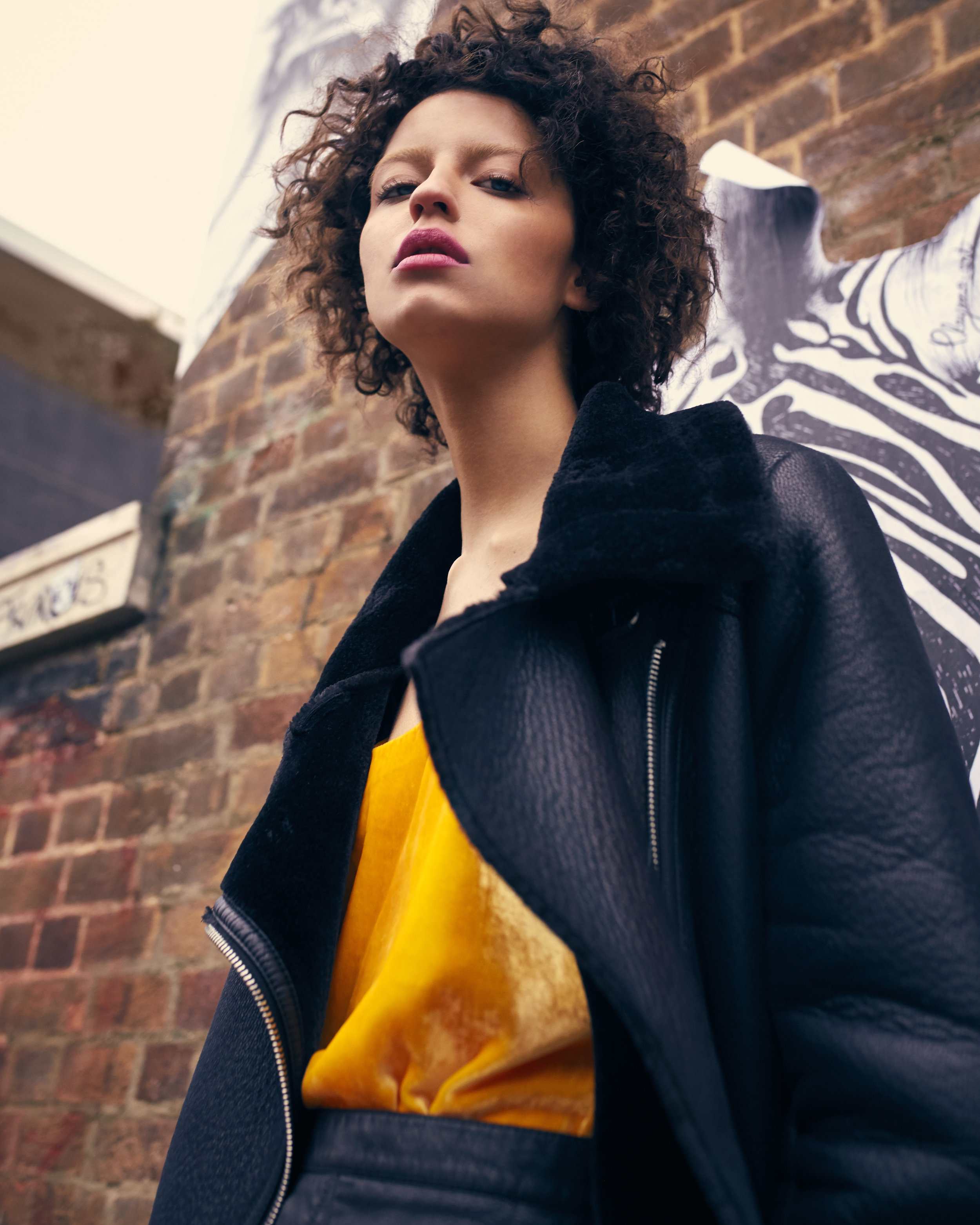 Yellow Leather Jacke Curly Brown Hair