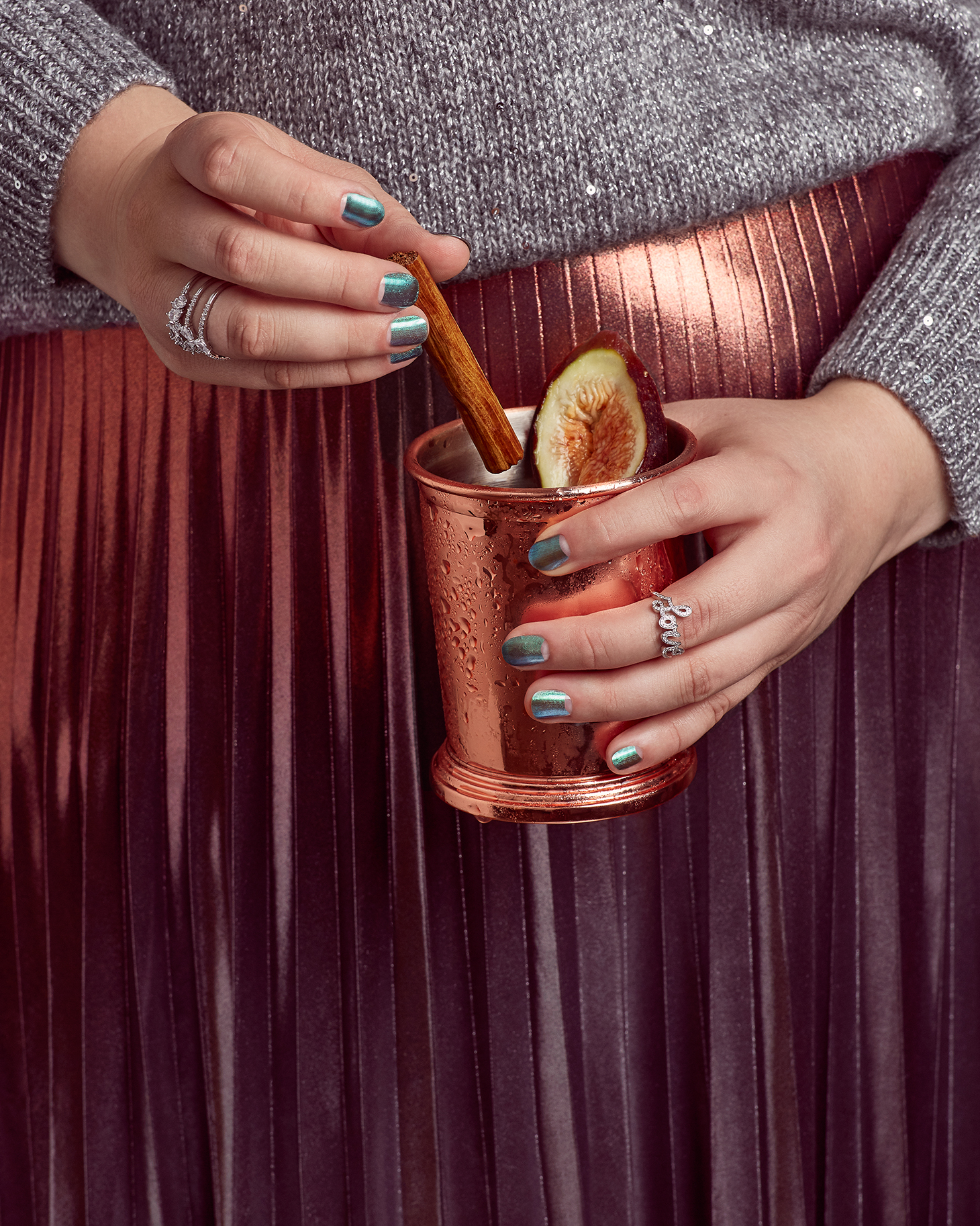 Cocktail Nails Metallic Skirt Curvy Plus Size