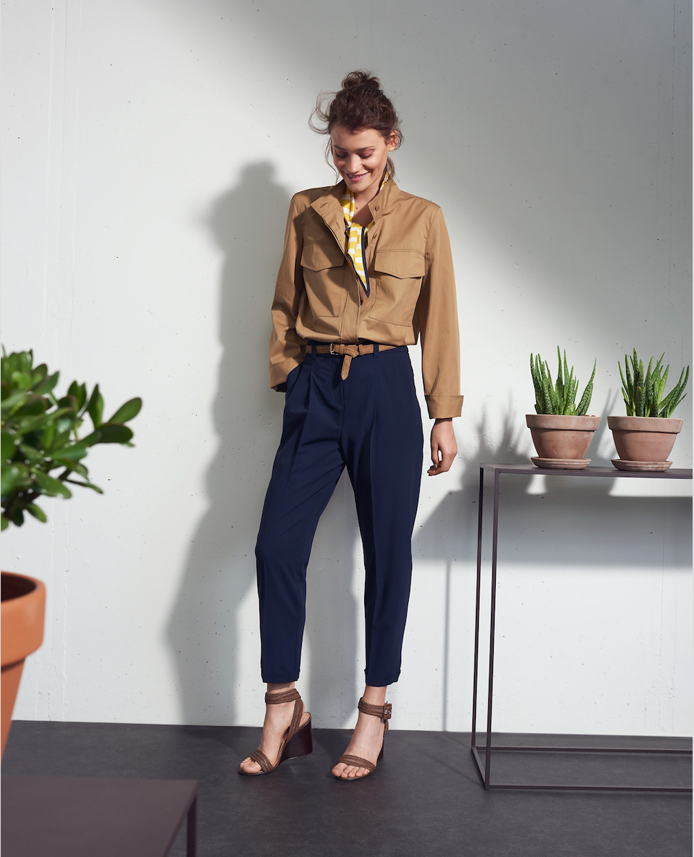 Brown Jacket Blue Pants Woman Fashion Plants