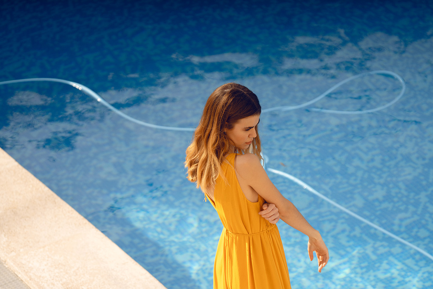 Yellow Dress Woman Long Brown Hair Pool Water