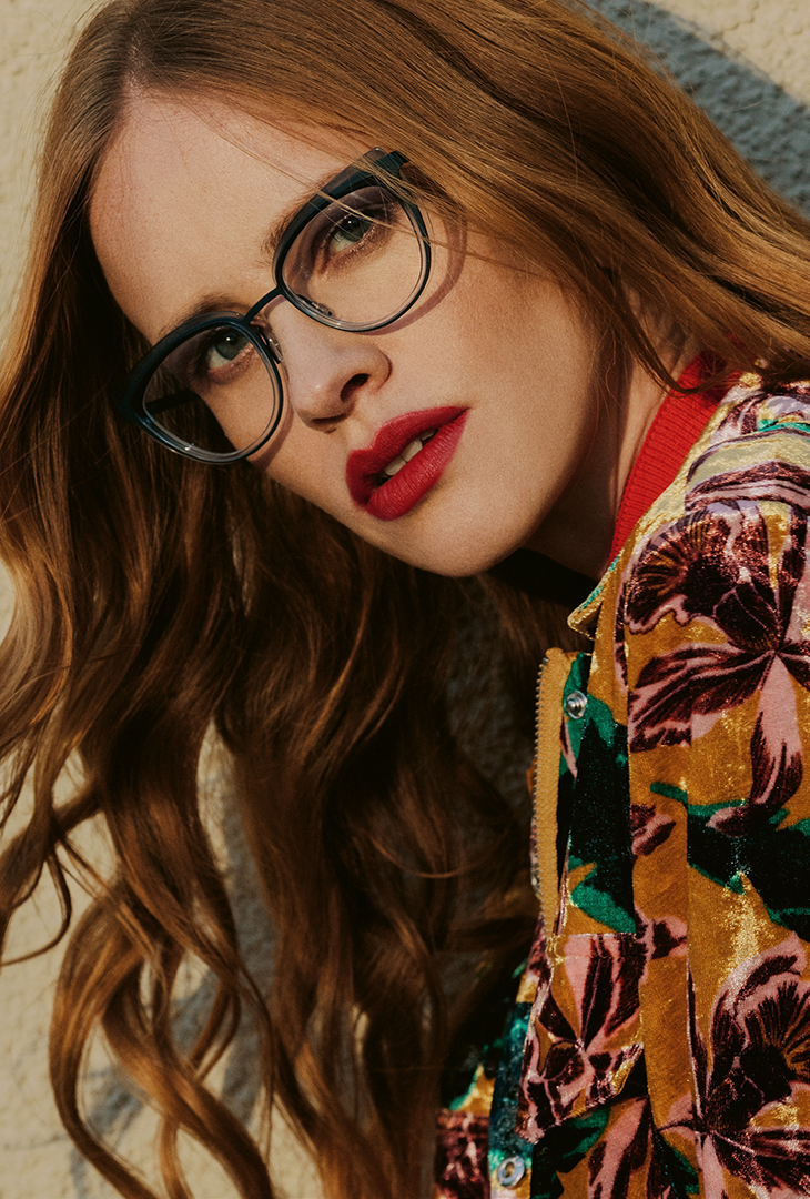 Glasses Red Lips Red Background Long Brown Hair