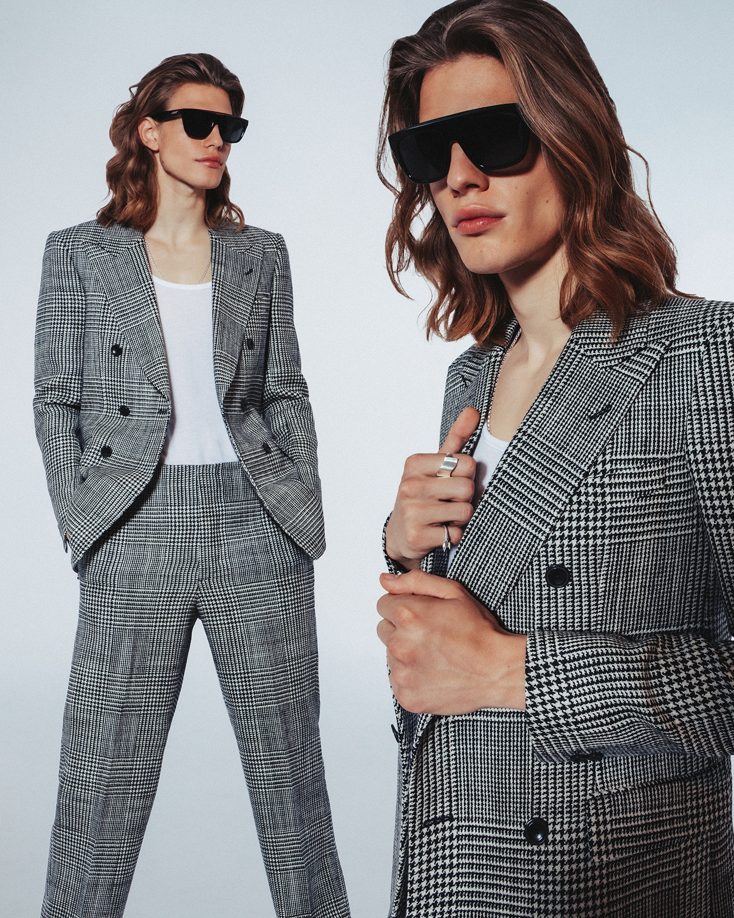 intersection magazine blue hair red green blue suit sunglasses mixed