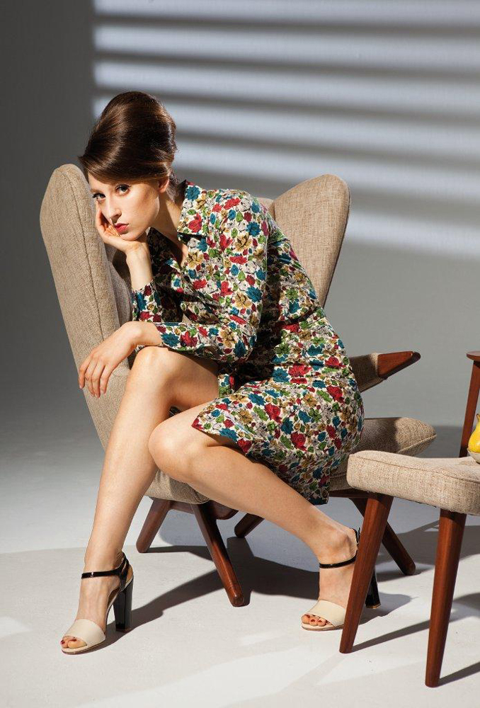 Woman Retro Vintage Look Sitting on Chair